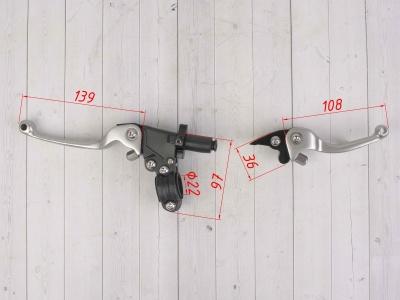 Рычаги CNC складные в сборе питбайк (тормоз+сцепление) титановые   фото 3